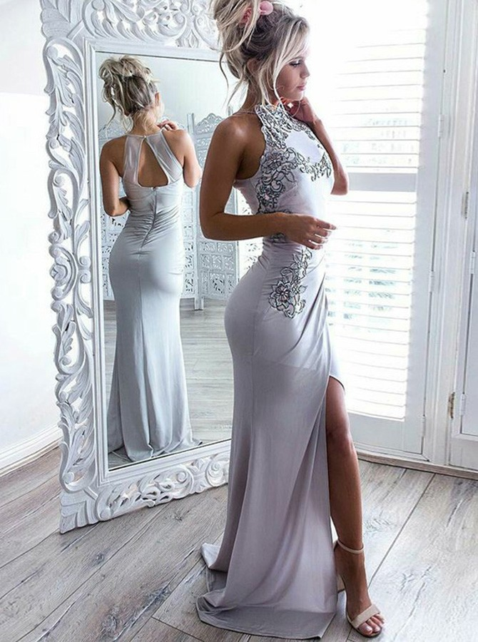 Mermaid High Neck Open Back Long Grey Prom Dress with Appliques Split