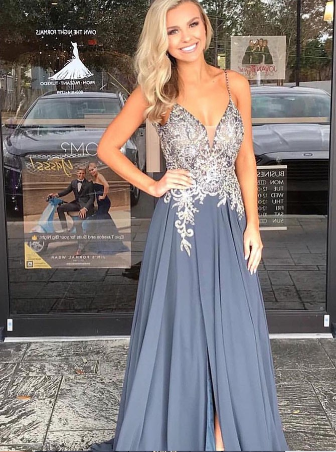A-Line Spaghetti Straps Floor-Length Prom Dress with Appliques