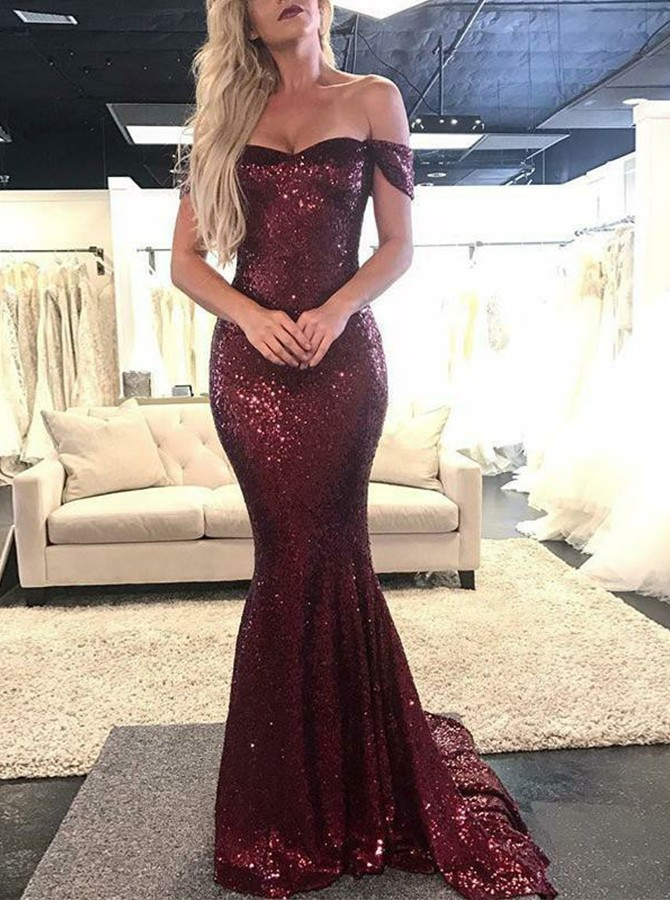 Mermaid Off-the-Shoulder Burgundy Sequined Prom/Evening Dress