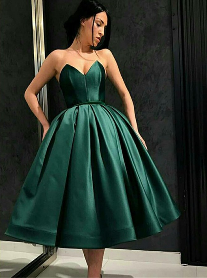 Ball Gown Sweetheart Tea-Length Flormal Dress Hunter Homecoming Dress
