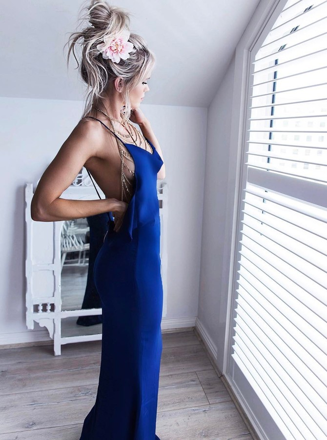 Mermaid Spaghetti Straps Backless Floor-Length Royal Blue Prom Dress