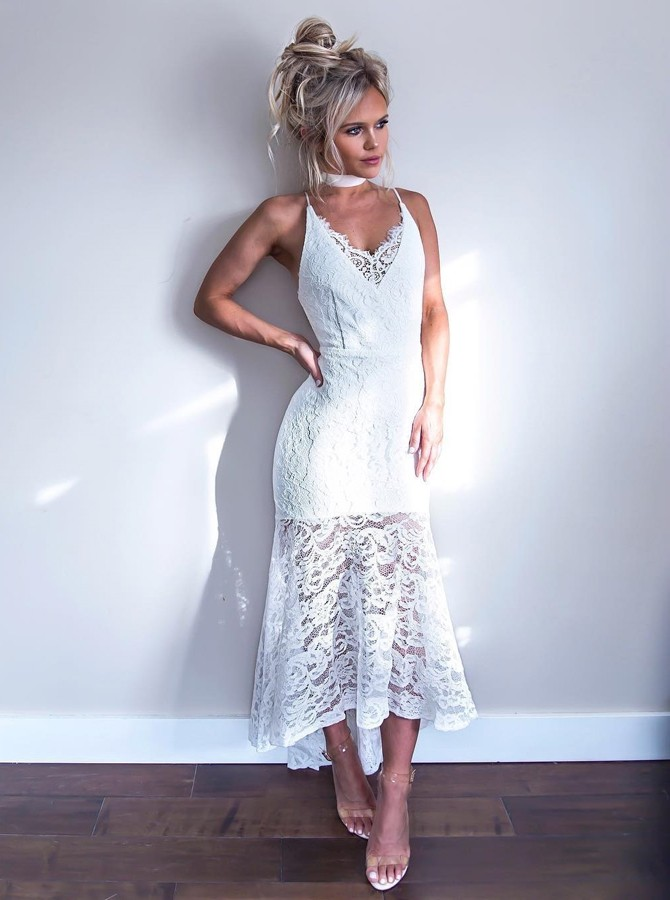 High Low Spaghetti Straps Sleeveless High Low White Lace Prom Dress
