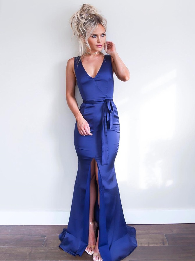 Mermaid V-Neck Floor-Length Royal Blue Prom Dress with Sash Split