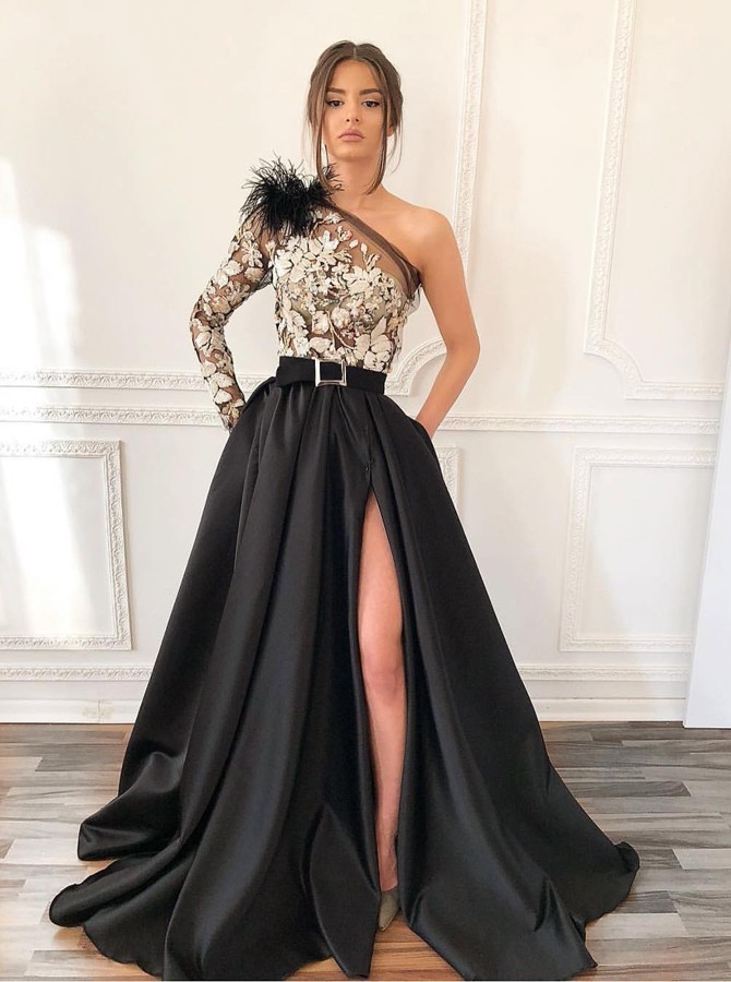A-Line One-Shoulder Long Black Prom Dress with Appliques Split