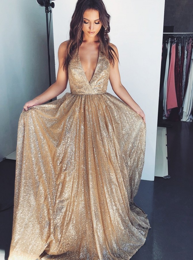 A-Line Halter Backless Champagne Evening Prom Dress with Pockets