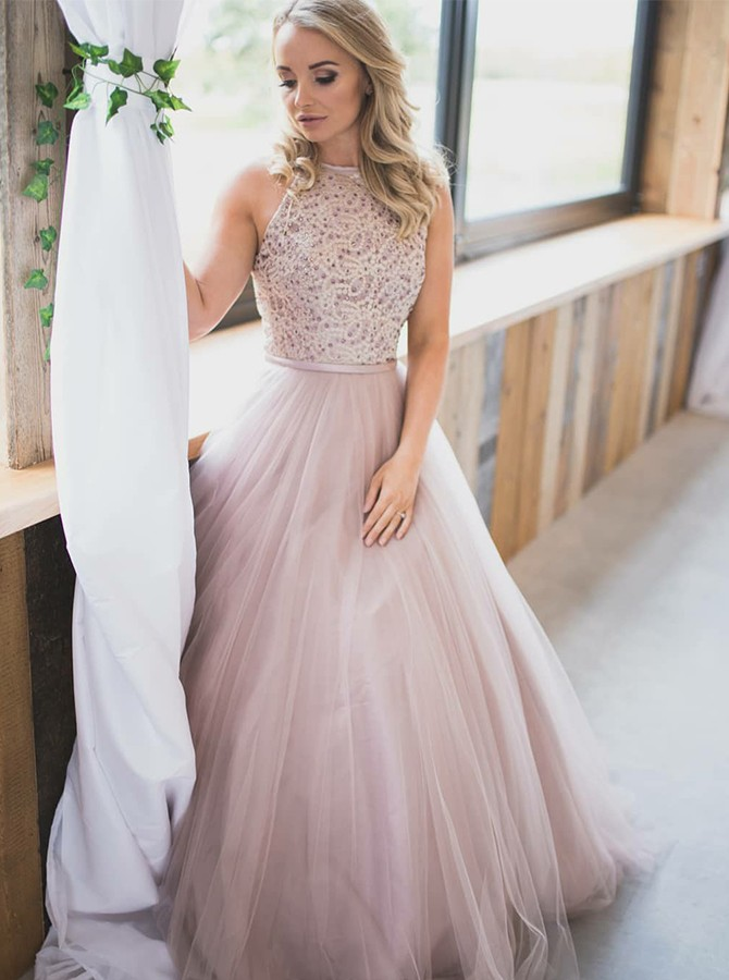A-Line Round Neck Floor-Length Pearl Pink Tulle Prom Dress with Beading