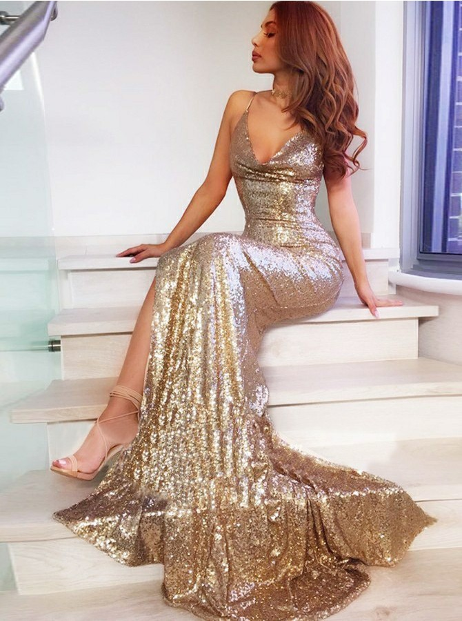 Mermaid Spaghetti Straps Gold Prom Dress Sweep Train Sequined Evening Dress with Split