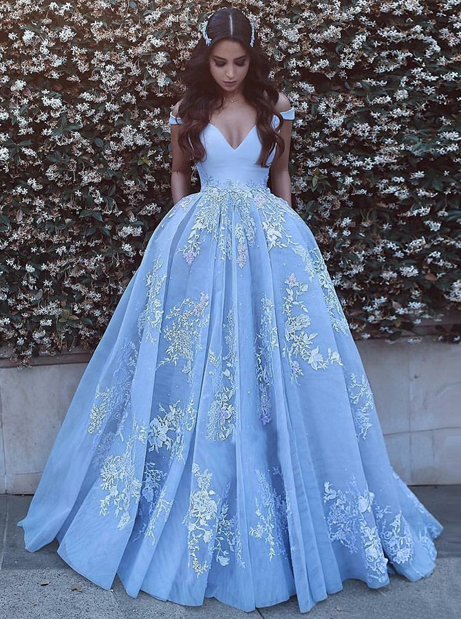 Ball Gown Off-the-Shoulder Floor-Length Prom Dress with Appliques