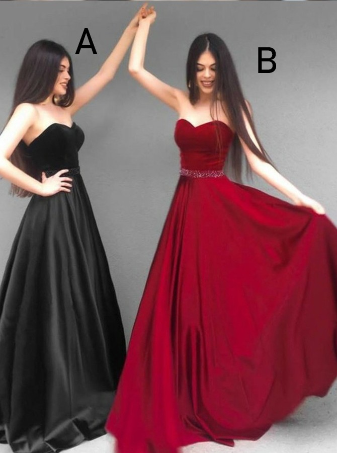 A-Line Sweetheart Floor-Length Black Prom Dress with Beading