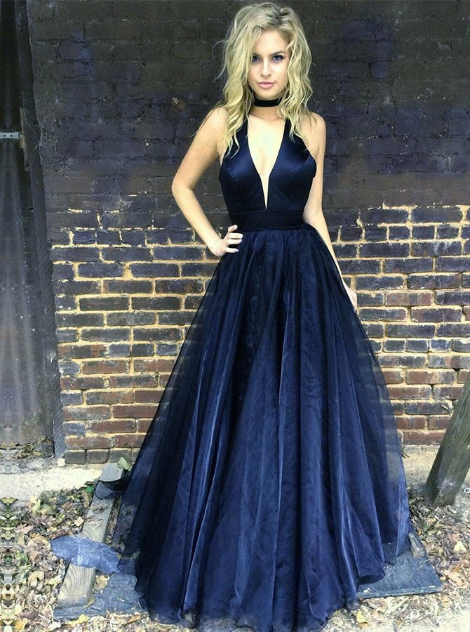 A-Line V-Neck Floor-Length Tulle Navy Blue Prom Dress with Pleats