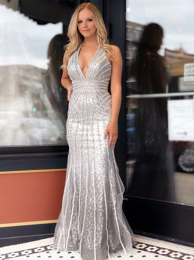 Mermaid V-Neck Floor-Length Silver Sequined Prom Dress with Beading