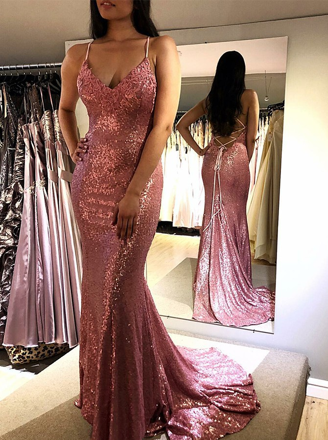 Mermaid Spaghetti Straps Seauined Sweep Train Prom/Evening Dress with Appliques