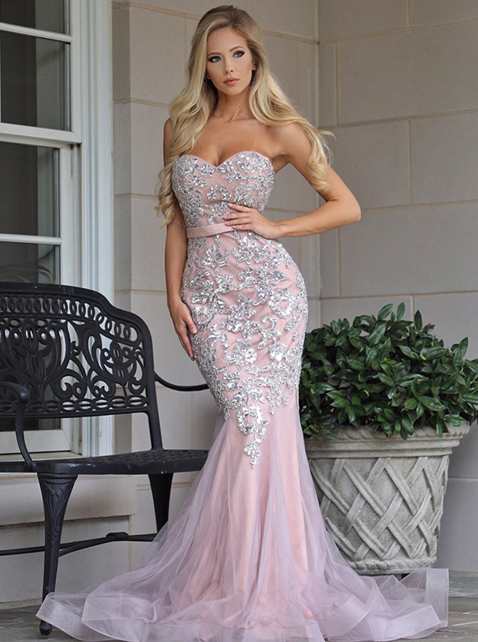 Mermaid Sweetheart Sweep Train Pink Prom Dress with Appliques