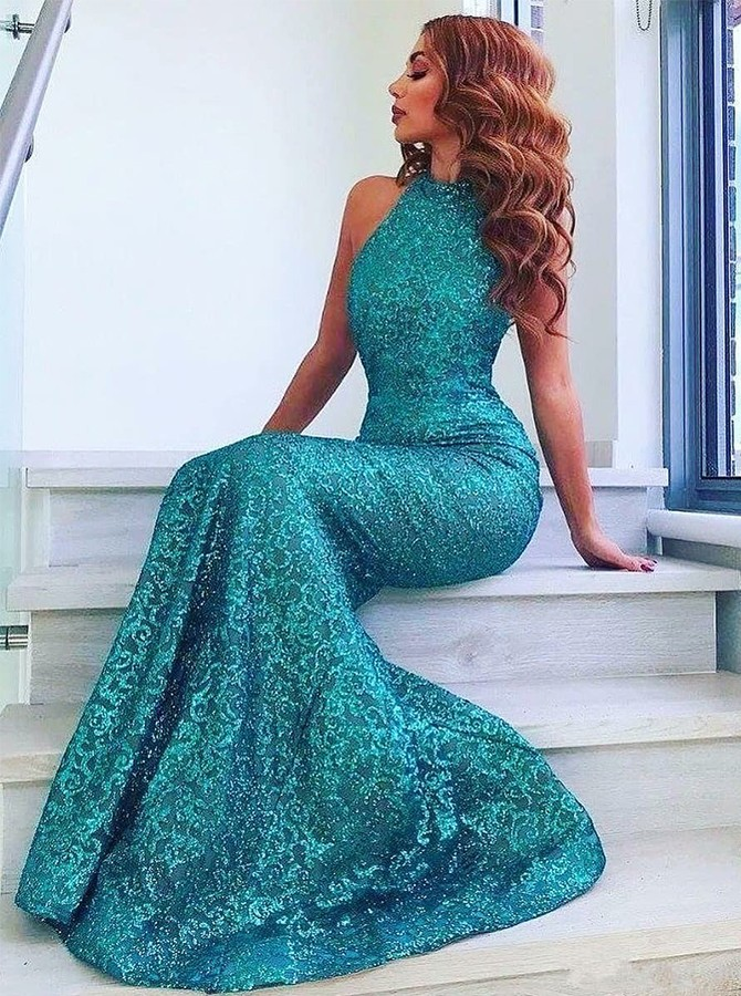 Mermaid High Neck Sweep Train Lace Turquoise Blue Prom Dress