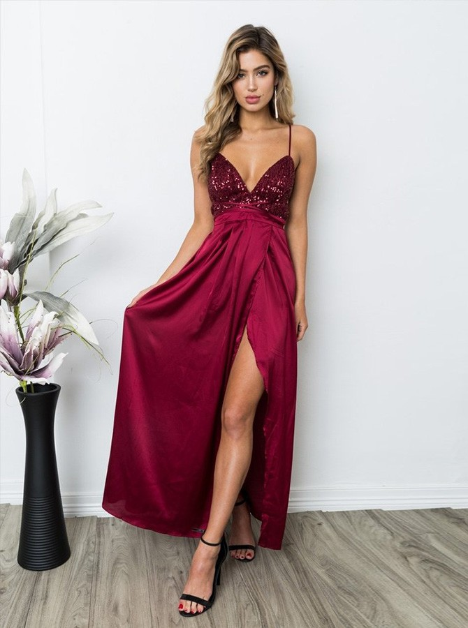 A-Line Spaghetti Straps Floor-length Prom Dress with Split Sequins