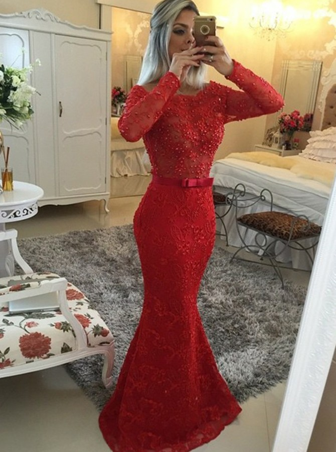 Mermaid Bateau Floor Length Long Sleeves Beading Bowknot Prom Dress