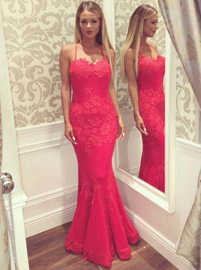 Mermaid Spaghetti Straps Floor Length Prom Dress with Appliques