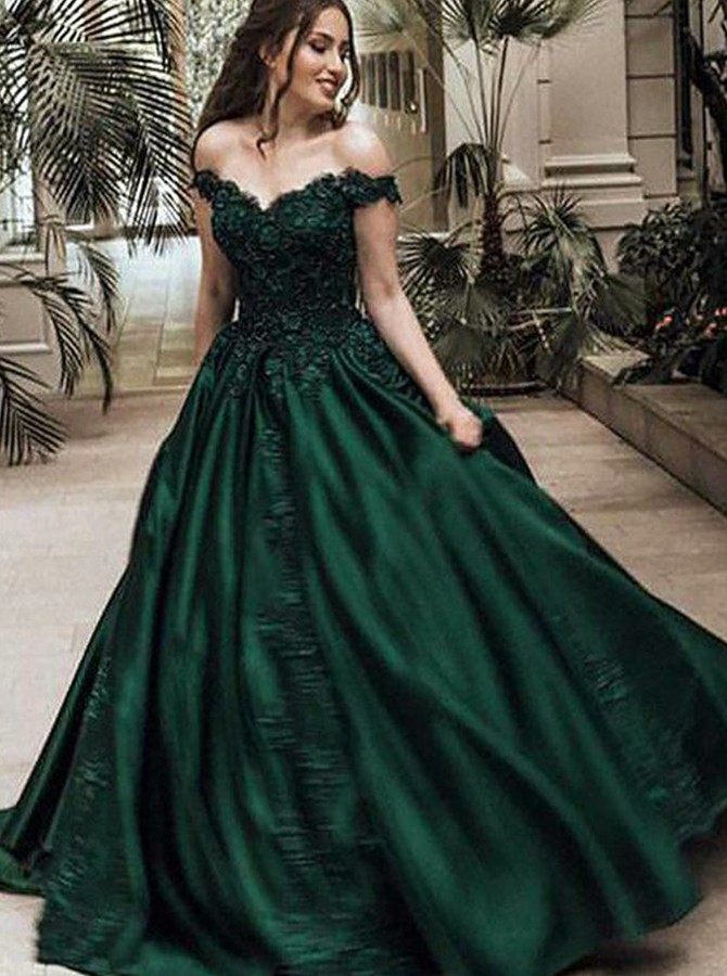 Ball Gown Off-the-Shoulder Sweep Train Prom Dress with Appliques