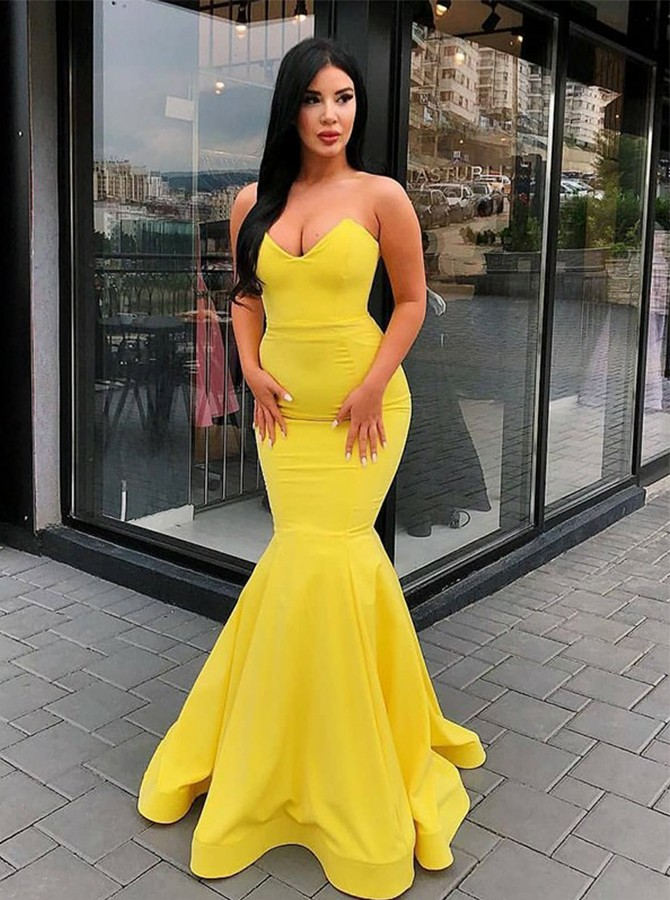 Mermaid Sweetheart Floor-Length Yellow Satin Prom Dress