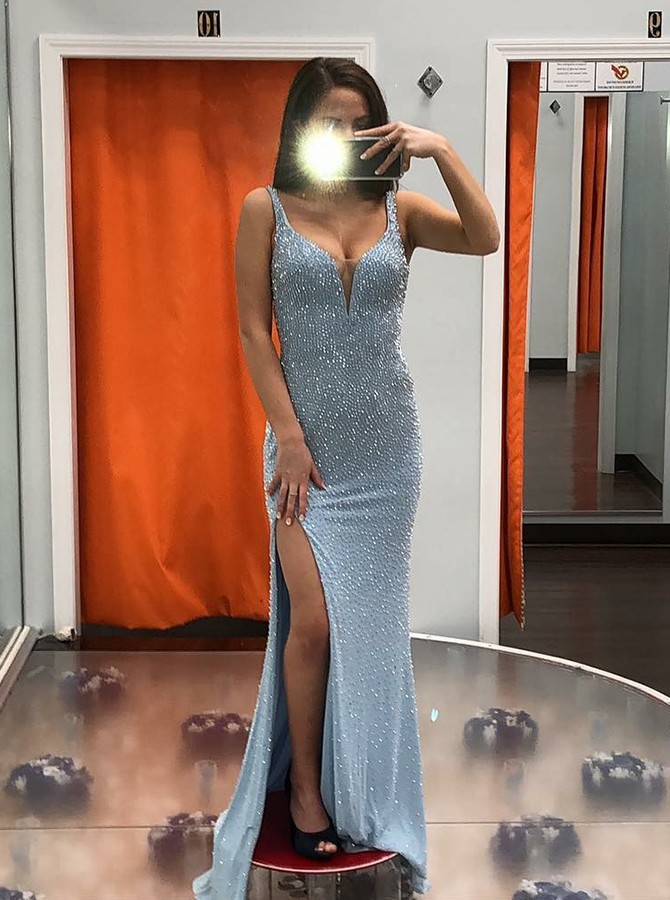 Mermaid Straps Sweep Train Prom/Evening Dress with Split Beading