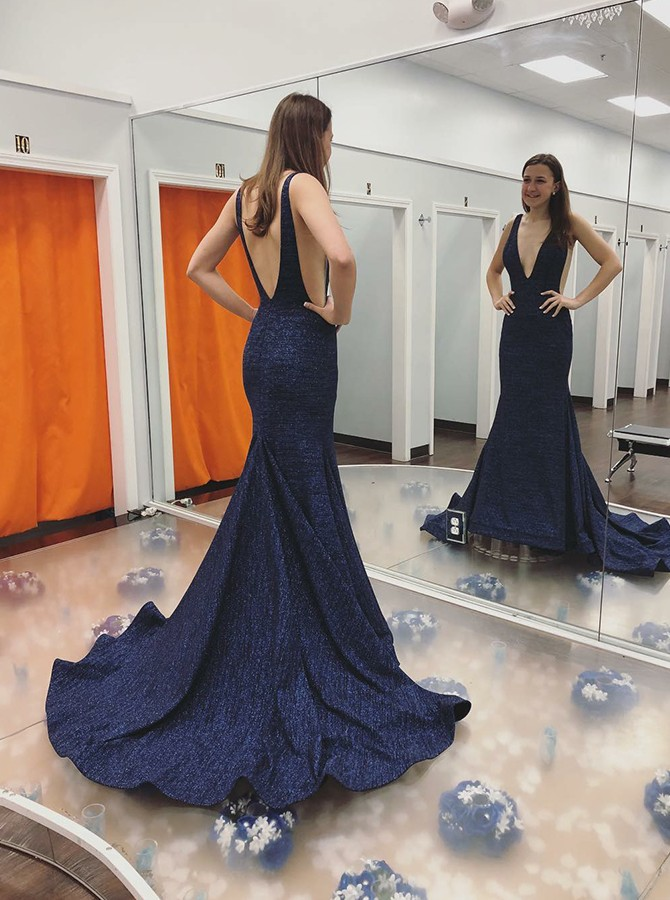 Mermaid Deep V-Neck Sweep Train Backless Dark Blue Prom Dress