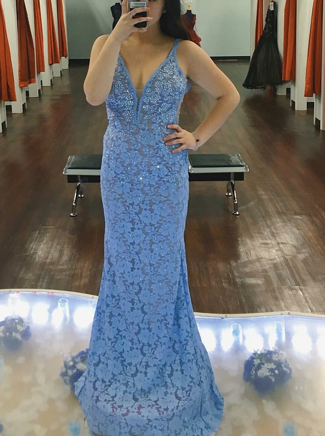 Mermaid V-Neck Long Lace Sky Blue Prom/Evening Dress with Beading