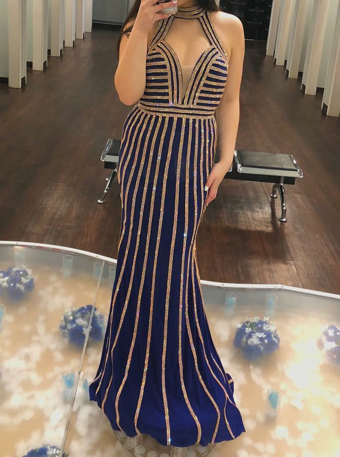 Mermaid Halter long Navy Blue Prom/Evening Dress with Sequines