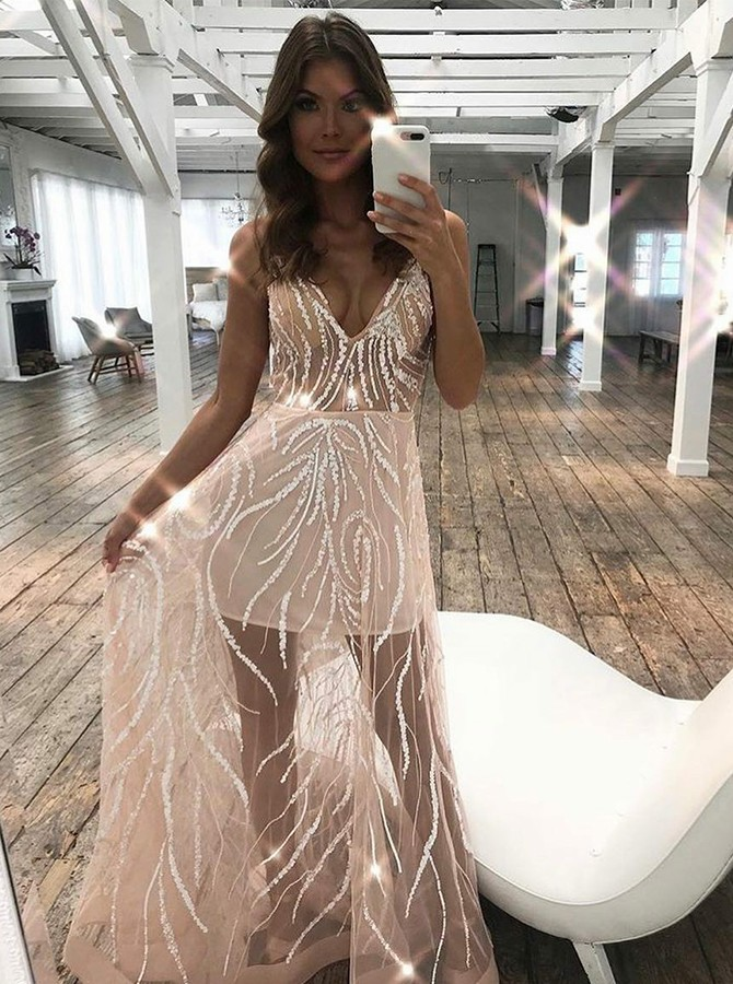 A-Line Spaghetti Straps Long Champagne Prom Dress with Appliques