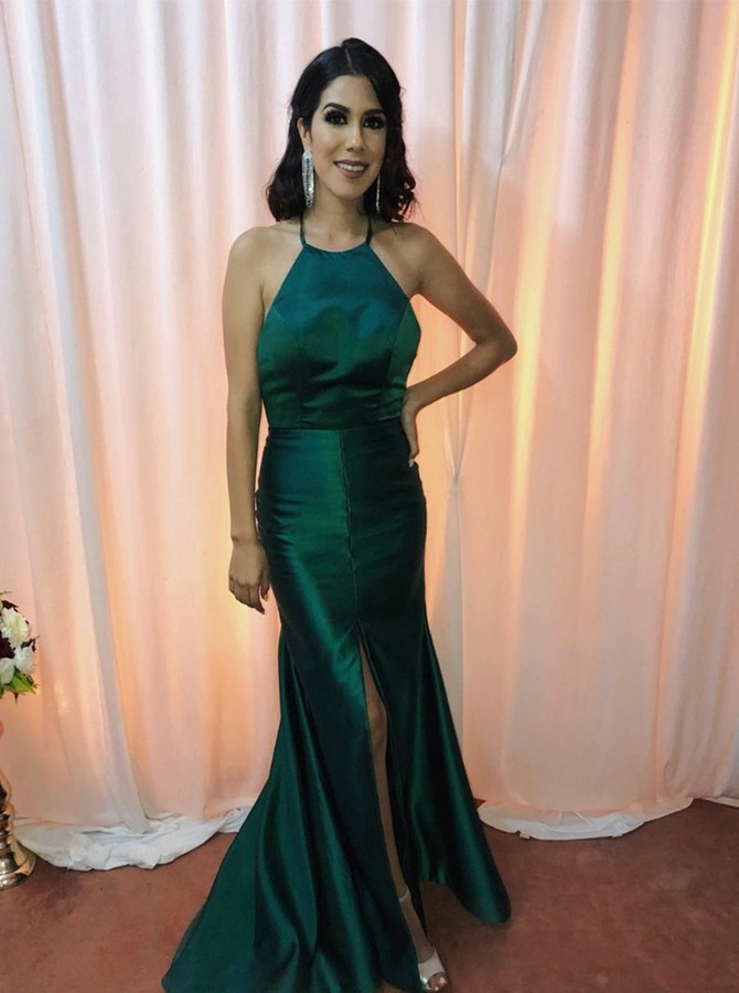 Mermaid Halter Long Dark Green Satin Prom Dress with Split