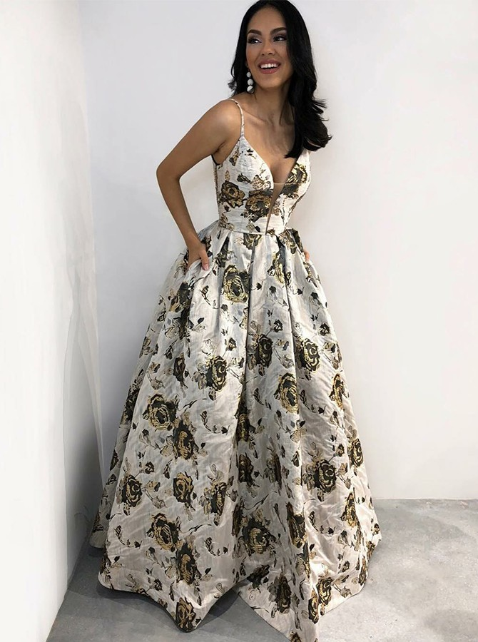 A-Line Spaghetti Straps Long Prom Dress Floor-Length Printed Evening Dress with Pockets