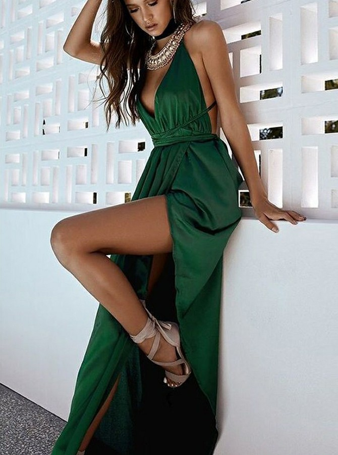 A-Line Spaghetti Straps Long Train Prom Dress with Split