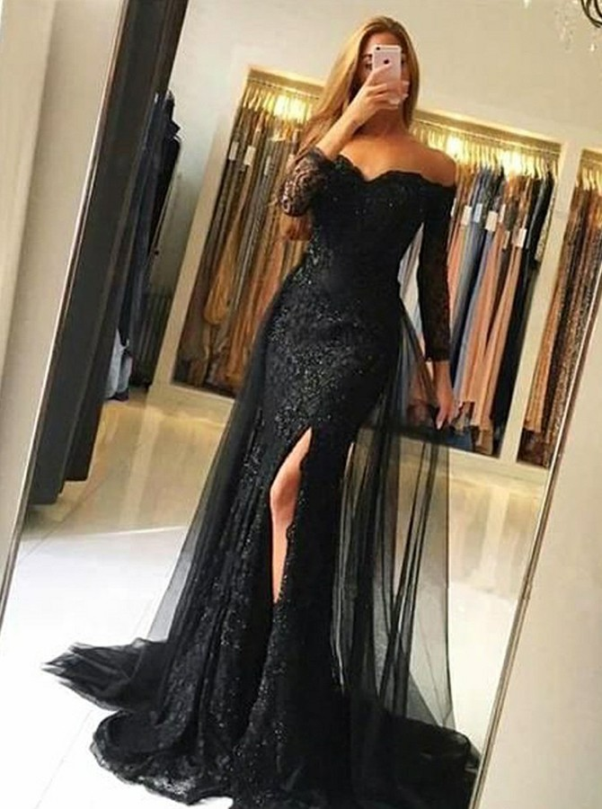 Mermaid Off-the-Shoulder Long Sleeves Lace Split Prom/Evening Dress