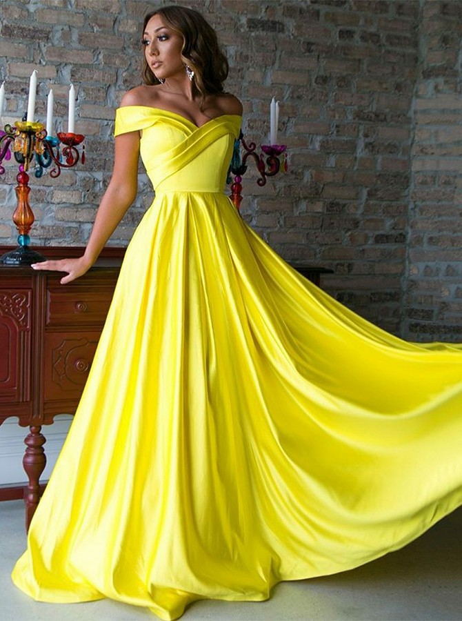 A-Line Off-the-Shoulder Sweep Train Yellow Satin Prom/Evening Dress