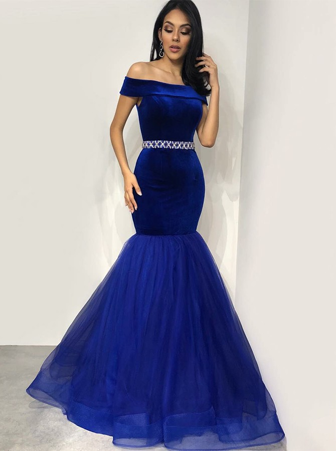 Mermaid Off-the-Shoulder Long Royal Blue Beading Prom/Evening Dress