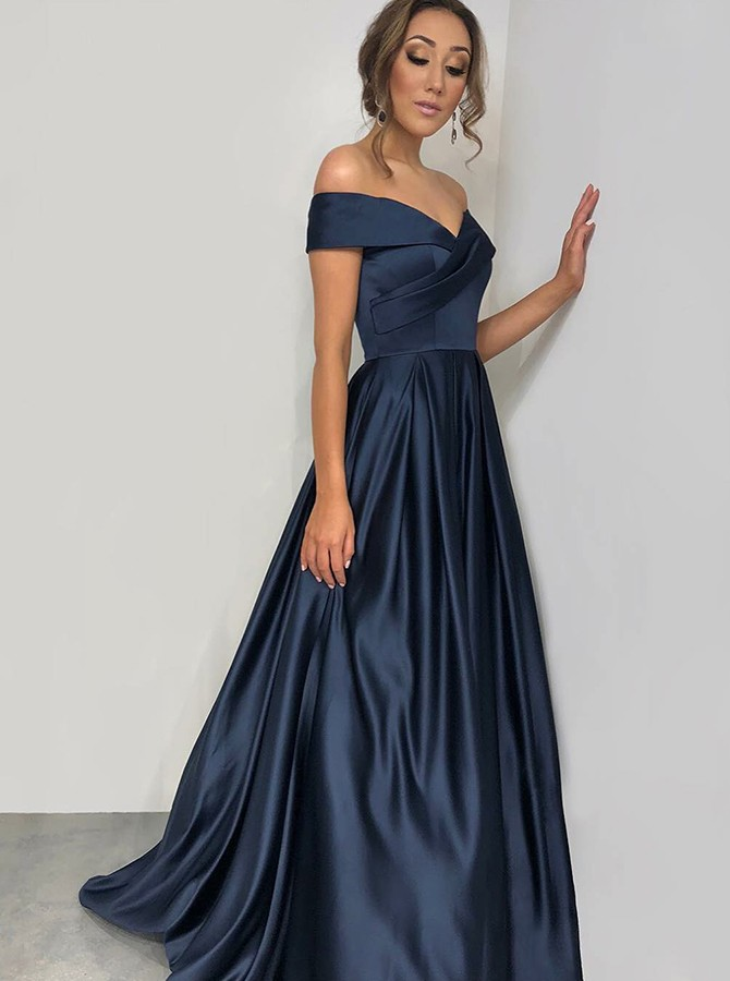 A-Line Off-the-Shoulder Floor-Length Navy Blue Satin Prom Dress