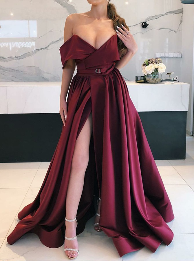 A-Line Off-the-Shoulder Long Wine Prom Dress with Split Belt