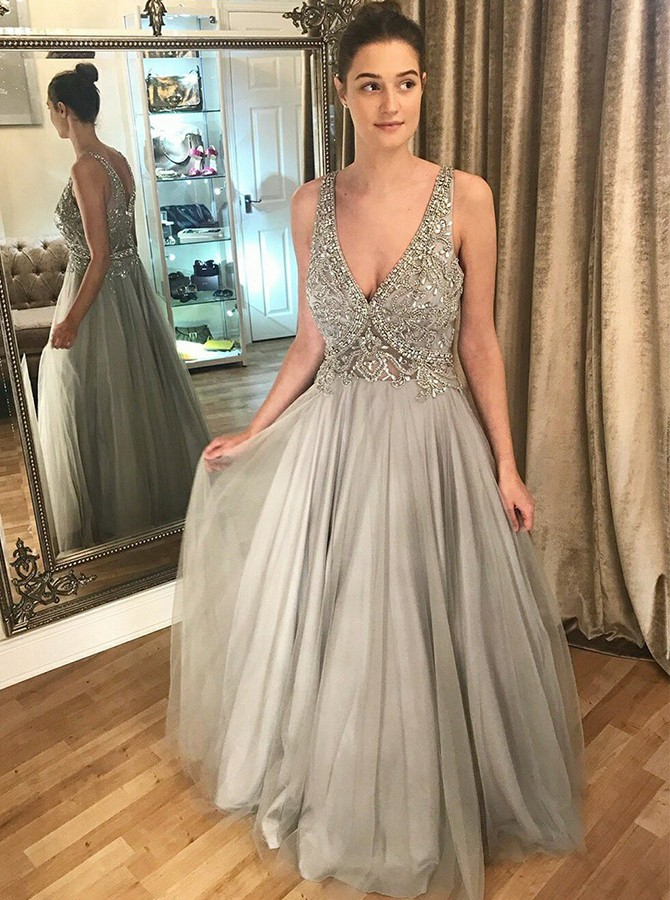 A-Line V-Neck Long Grey Tulle Prom Dress with Appliques