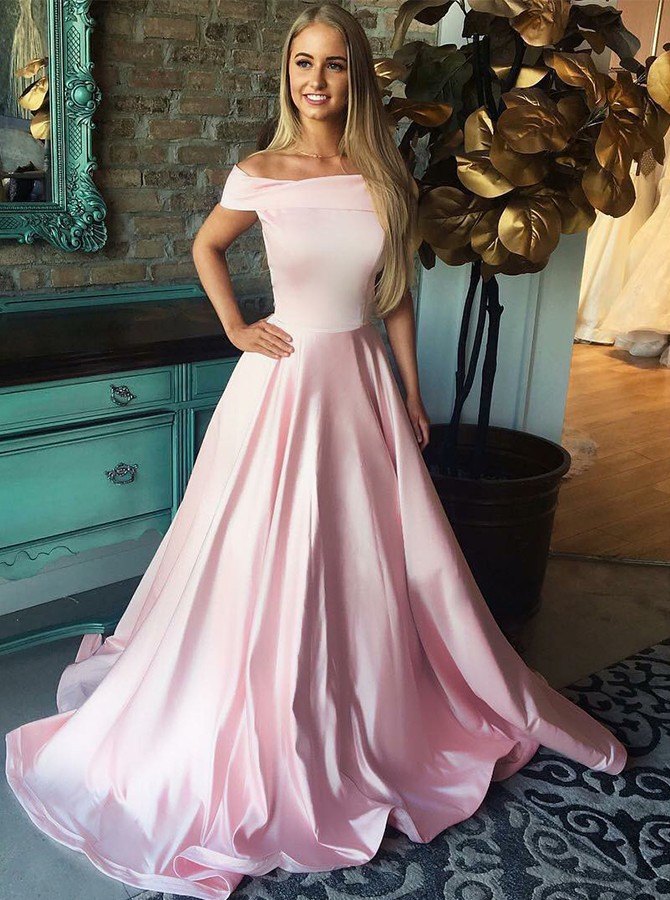 A-Line Off-the-Shoulder Sweep Train Pink Satin Prom/Evening Dress