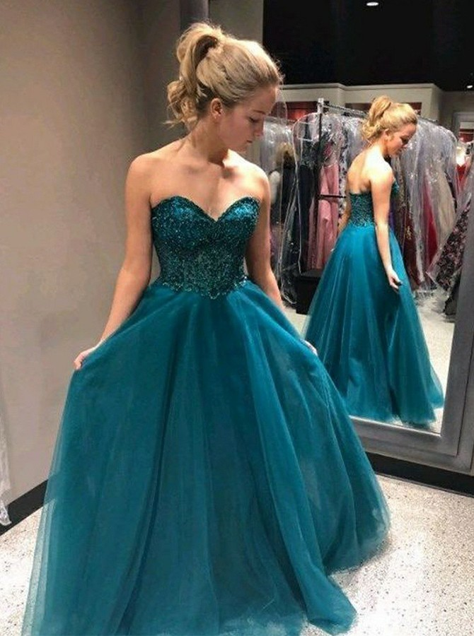A-Line Sweetheart Long Backless Prom Dress with Appliques