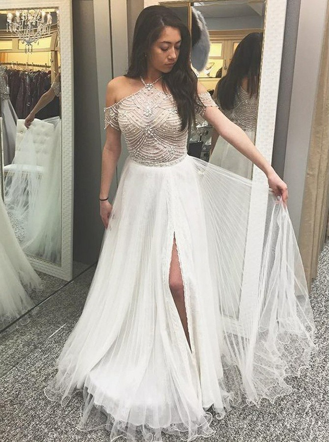 A-Line Round Neck Floor-Length Prom/Evening Dress with Beading Split