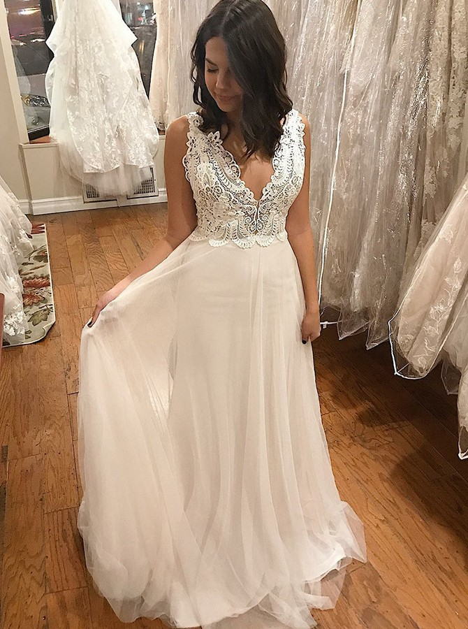 A-Line V-Neck Sweep Train Backless Prom Dress with Appliques