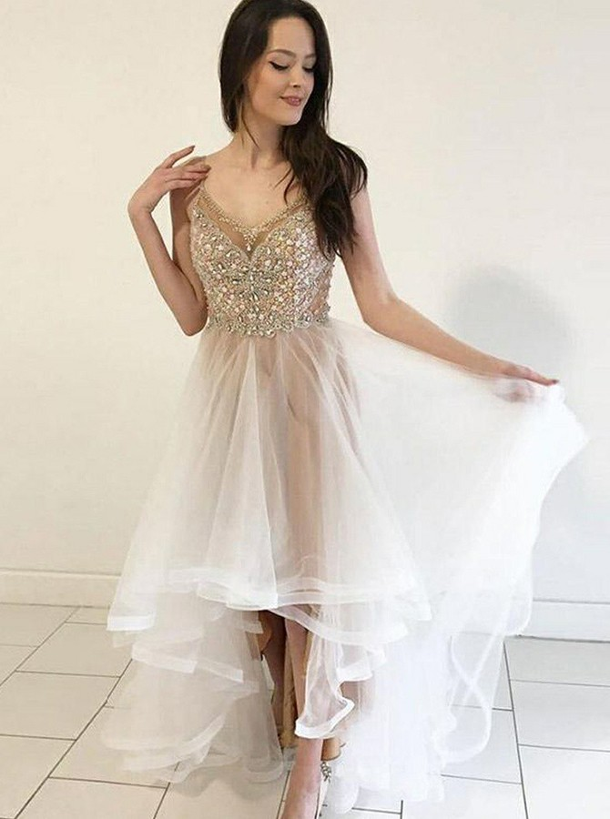High Low Spaghetti Straps Long Prom Dress with Appliques