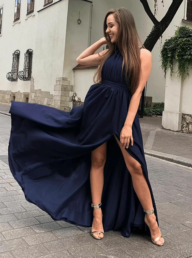 A-Line Round Neck Floor-Length Navy Blue Prom Dress with Split