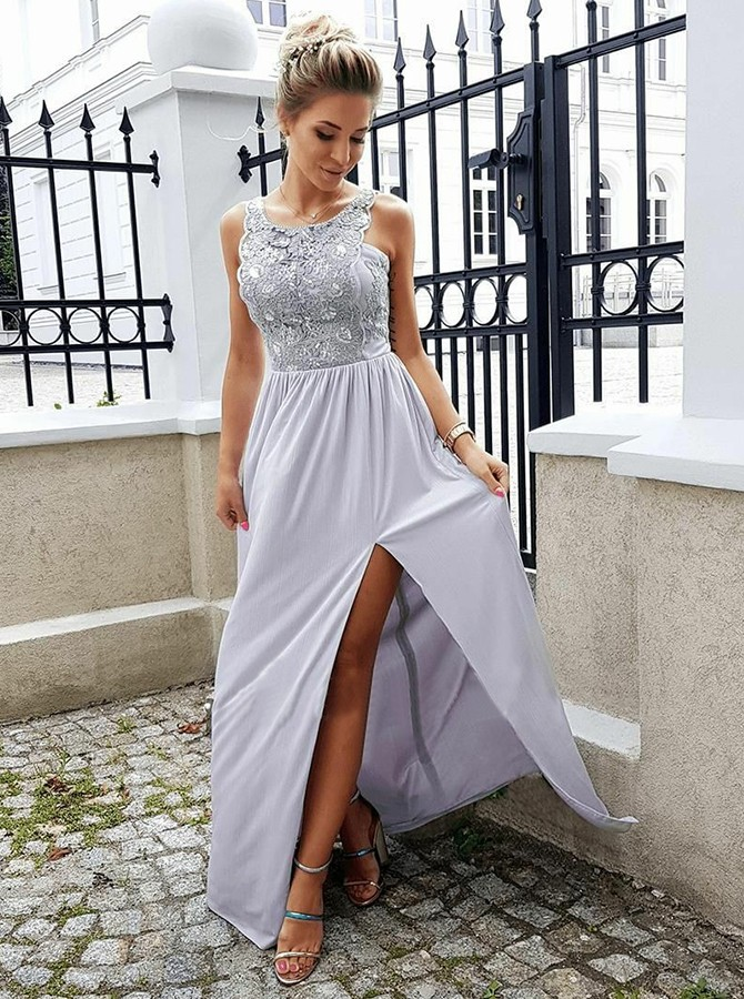 Sheath Round Neck Floor-Length Grey Prom Dress with Lace Split