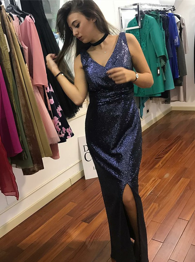 Mermaid V-Neck Floor-Length Sequined Prom/Evening Dress with Split