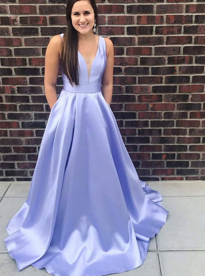 A-Line V-Neck Long Lavender Prom Dress with Pockets Bowknot