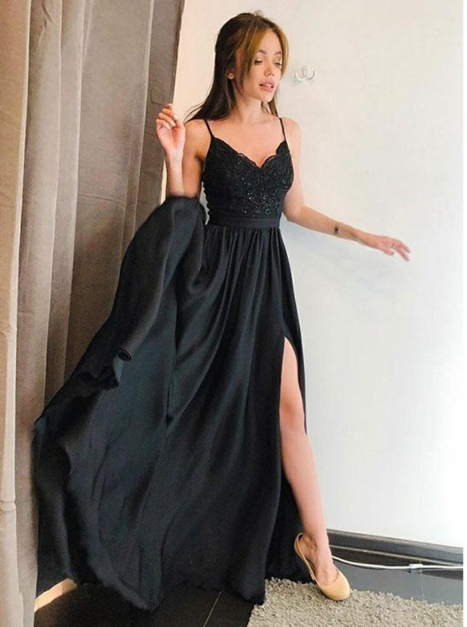A-Line Spaghetti Straps Sweep Train Prom Dress with Split Lace