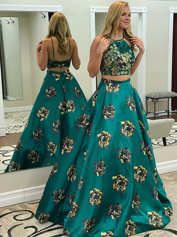 Two Piece Spaghetti Straps Long Prom Dress with Printed