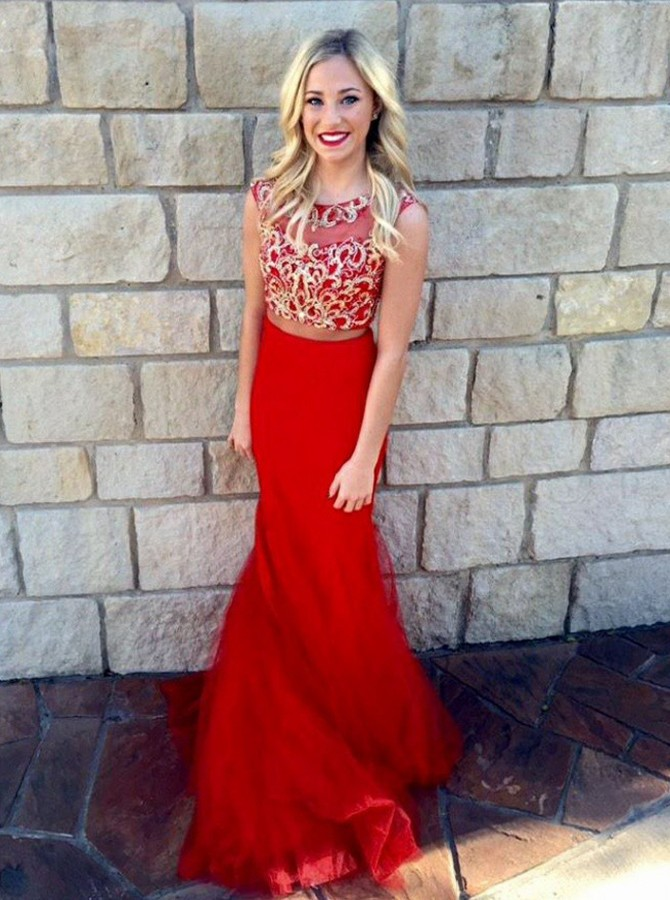 Two Piece Round Neck Floor-Length Prom/Evening Dress with Appliques