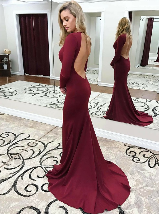 Mermaid Round Neck Long Sleeves Backless Prom/Evening Dress